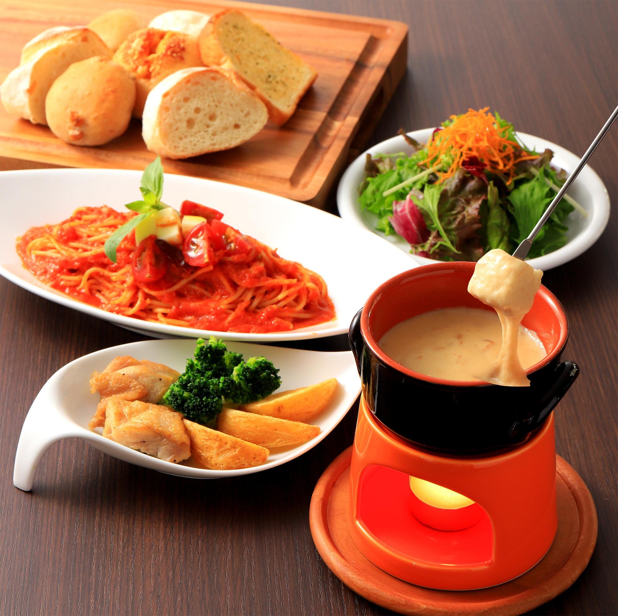 選べるスパゲッティとチーズフォンデュセット
