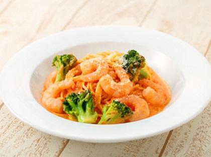 ぷりぷり海老とブロッコリーの トマトクリームスパゲッティ